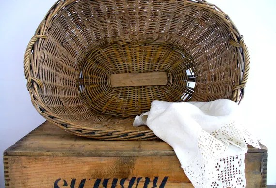 Antique French Country Wicker Laundry Basket Handles