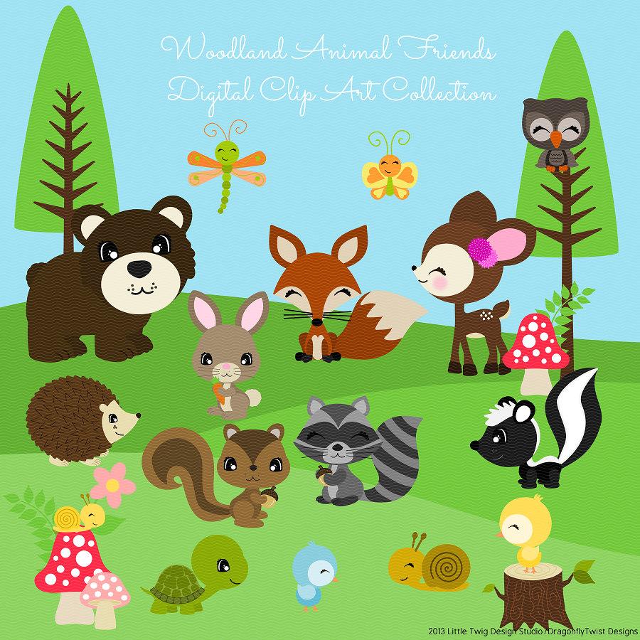 Woodland Animal Friends Series 2 Digital Clipart clip art