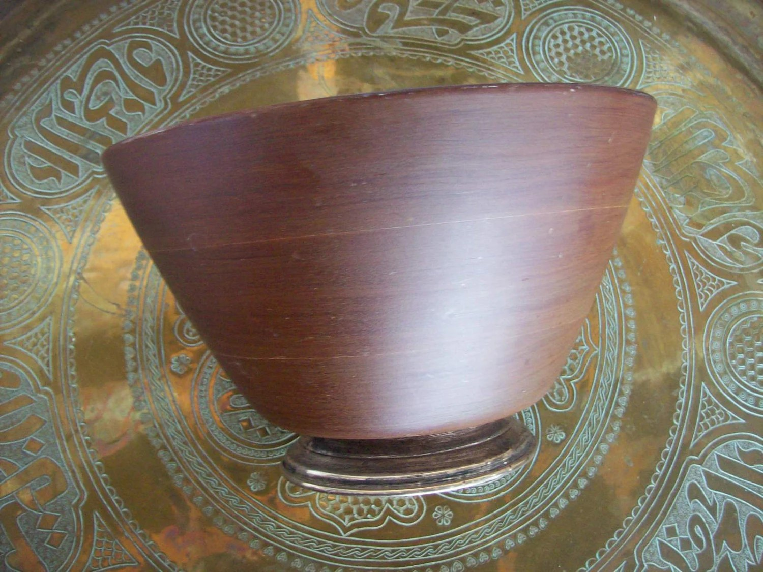 Vintage Mahogany Wood Serving Bowl With Sterling Silver Base