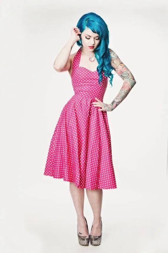 Pink polka dot Rockabilly dress Pin up 50's style