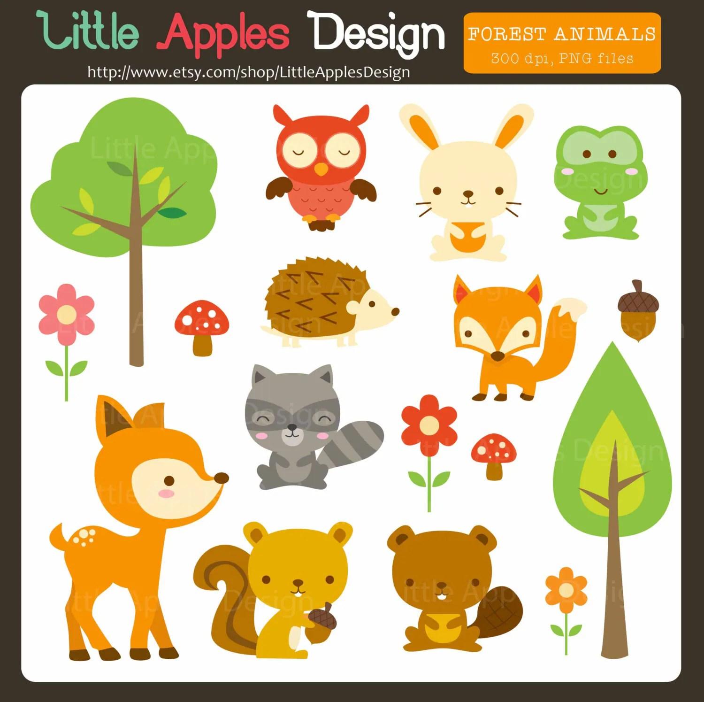 Woodland Animal Clip Art / Woodland Animal Clipart / Forest