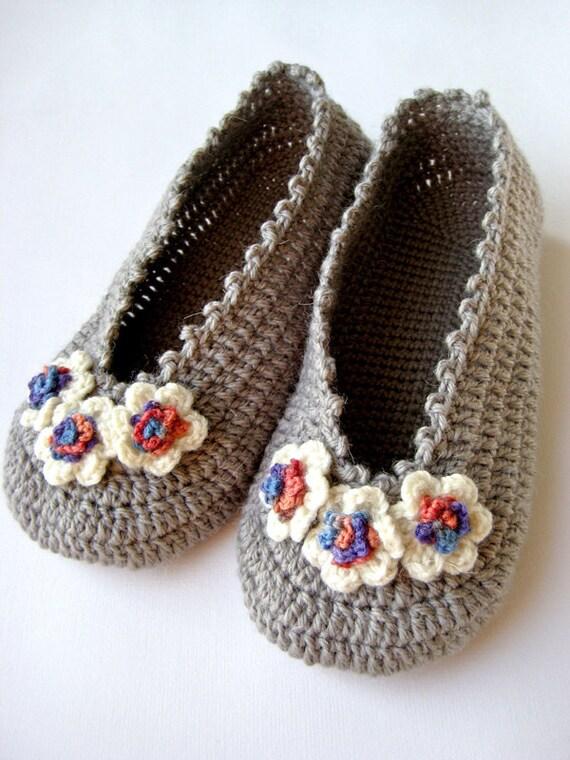 Flowers Womens Flats Crochet Slippers Grey Wool Slippers