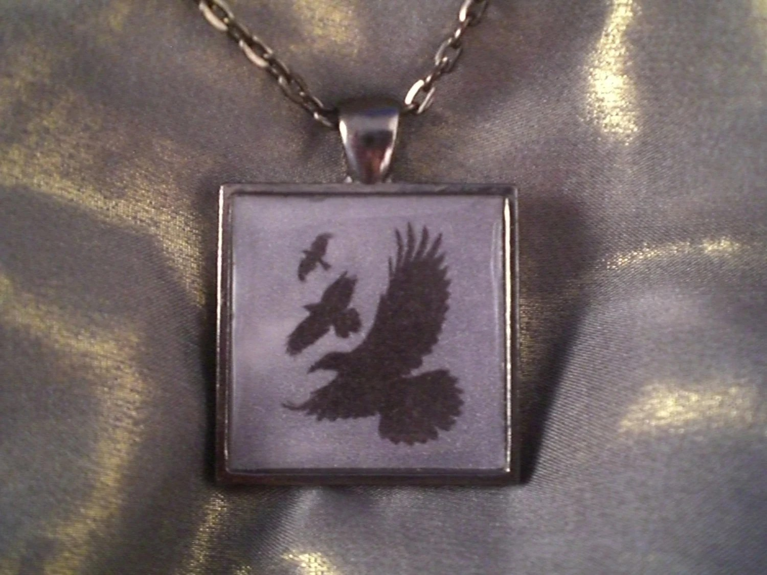 Divergent Raven Tattoo Necklace by alohabluedolphin on Etsy