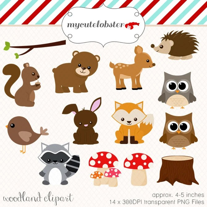 Woodland Clipart Set clip art set of by mycutelobsterdesigns