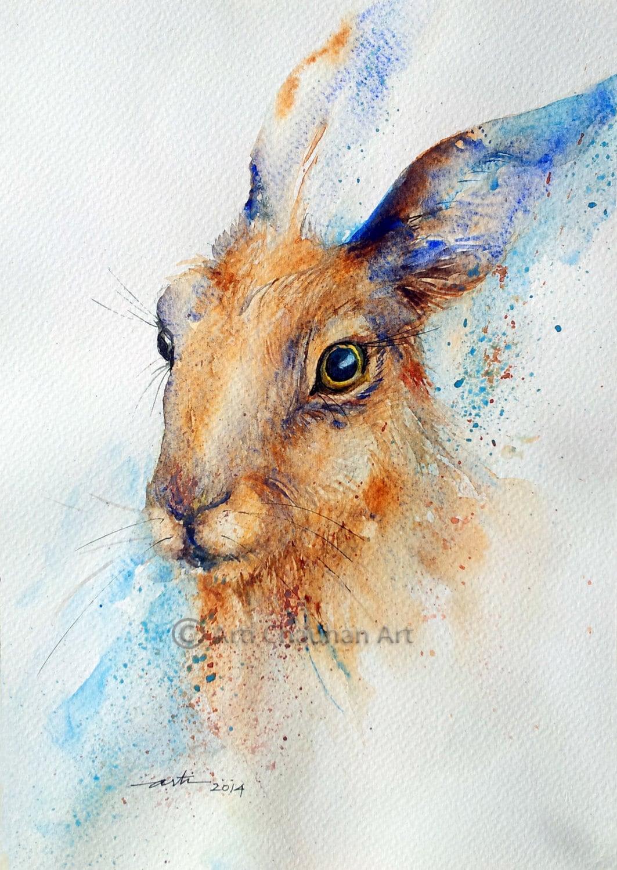Original Art Hare Animal Watercolor Painting A4