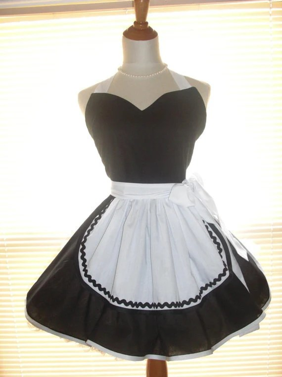 French Maid Apron Pin Up Retro Style Black And White Flirty