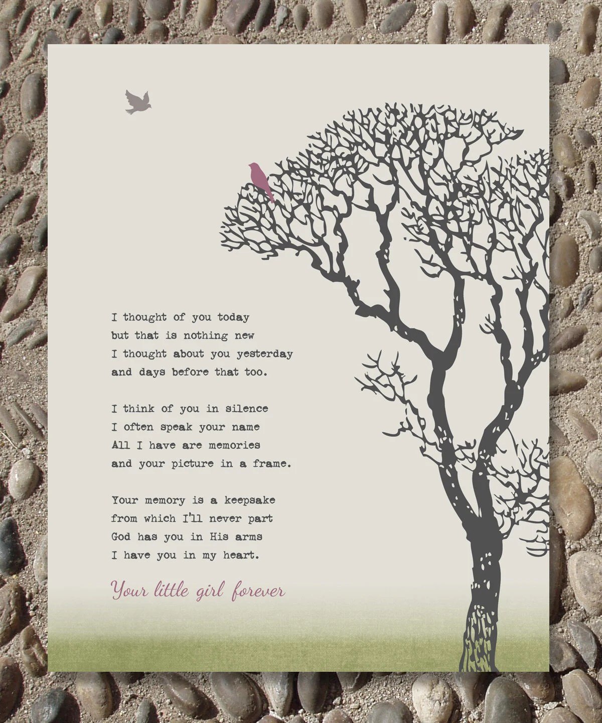 Remembrance Family Tree Grief Grieving Art Print Memorial Loss