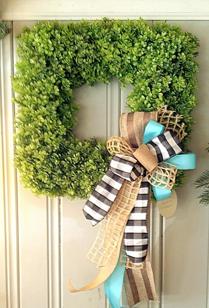 Boxwood Wreath Square Wreath Spring Wreath by ...