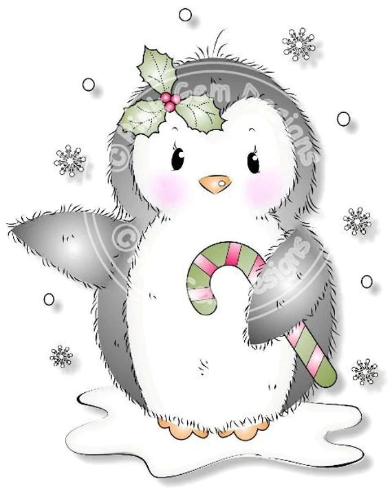 Digital Digi Cute Penguin Stamp. Makes Cute Christmas Cards.