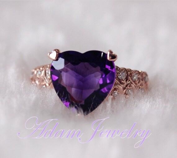 Items Similar To Heavy 5 45ct Heart Shaped Dark Purple Amethyst Ring Diamonds 14k Rose Gold