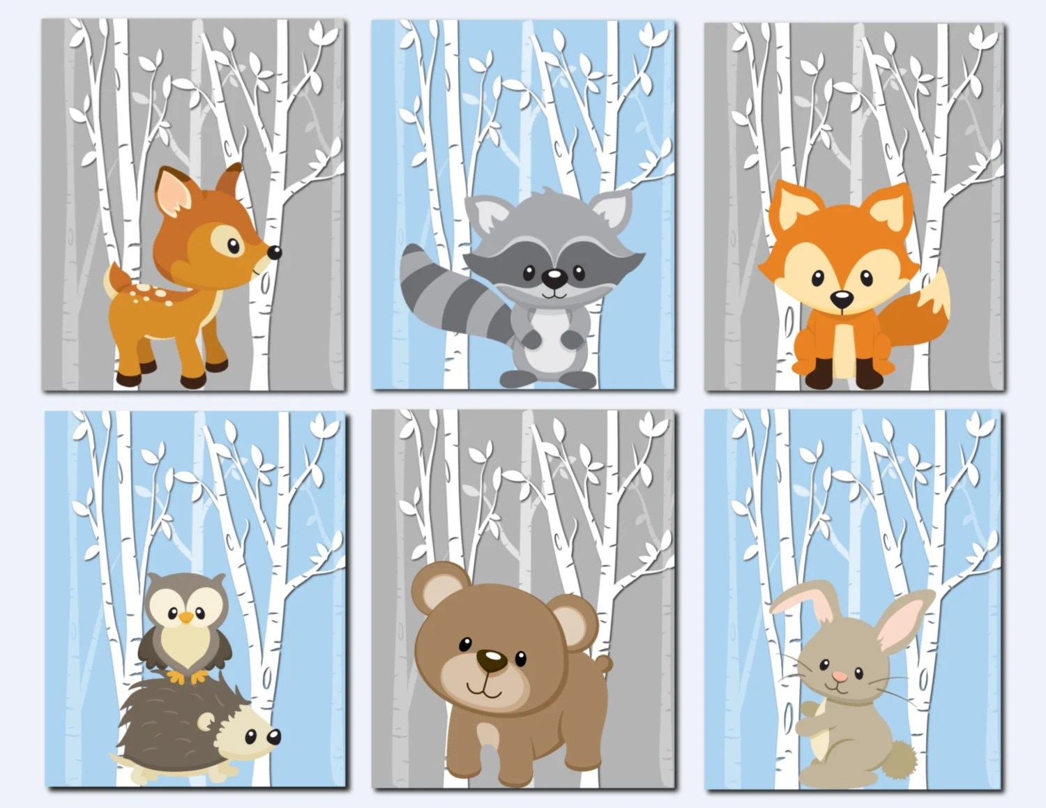 Woodland Nursery Wall Art Forest Animals Wall Art by vtdesigns