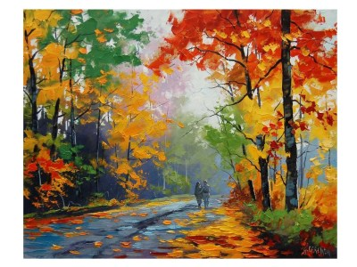 FALL Oil PAINTING Trees painting Autumn Painting artwork