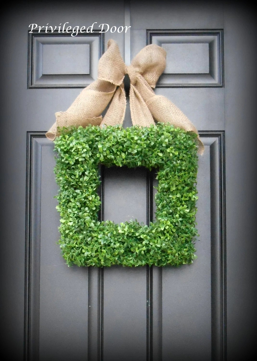 Boxwood Wreath. Square Faux Boxwood Wreath with by ...