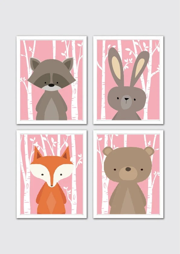 Items similar to Woodland Animals Nursery Art Prints ...