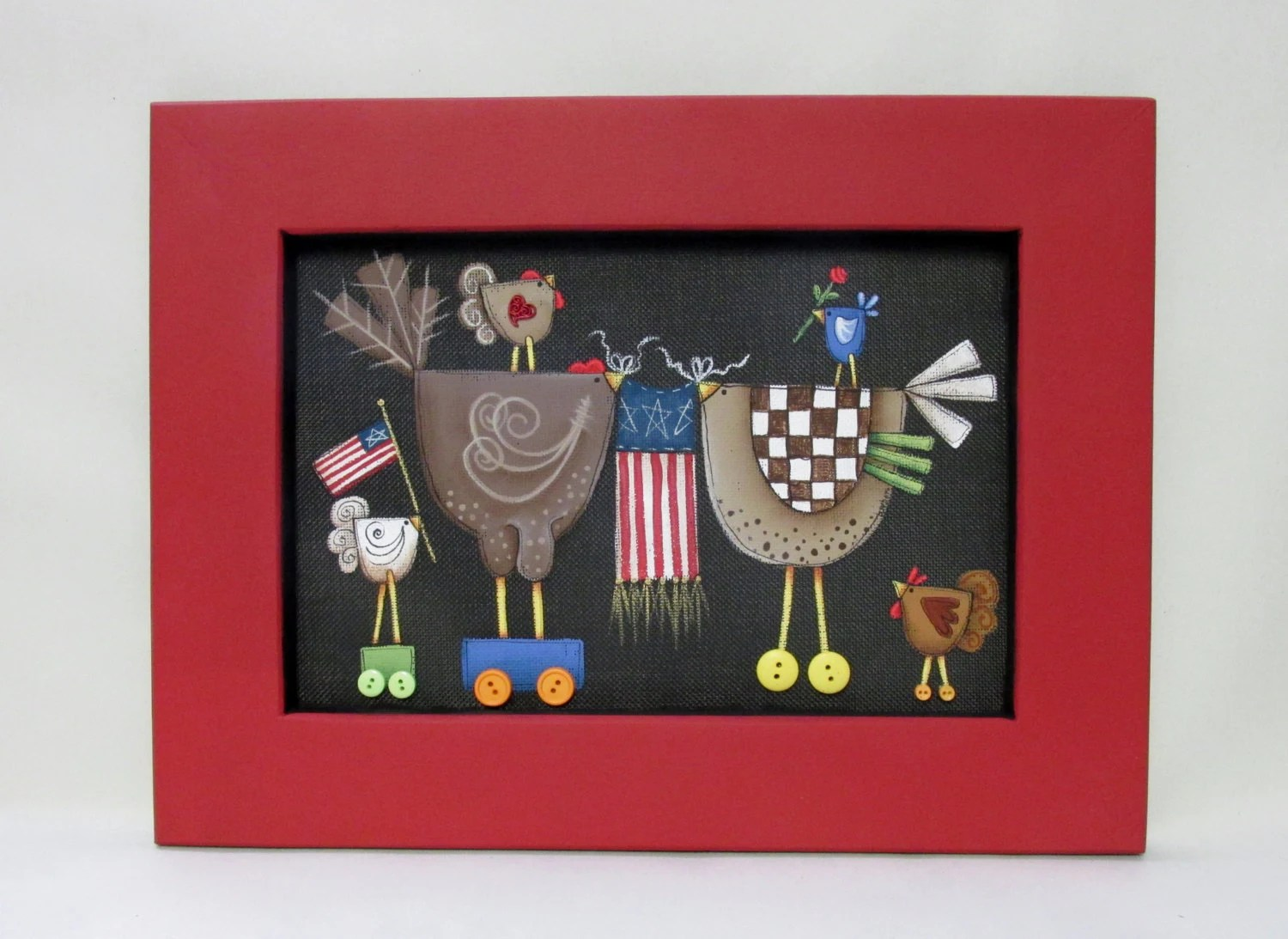 Patriotic And Whimsical Chickens With American Flags Tole