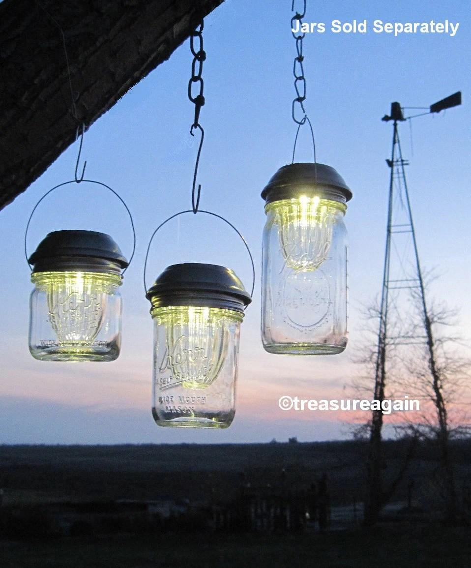 Wide Mason Jar Solar Lids Garden Lanterns 4x Brighter Hanging