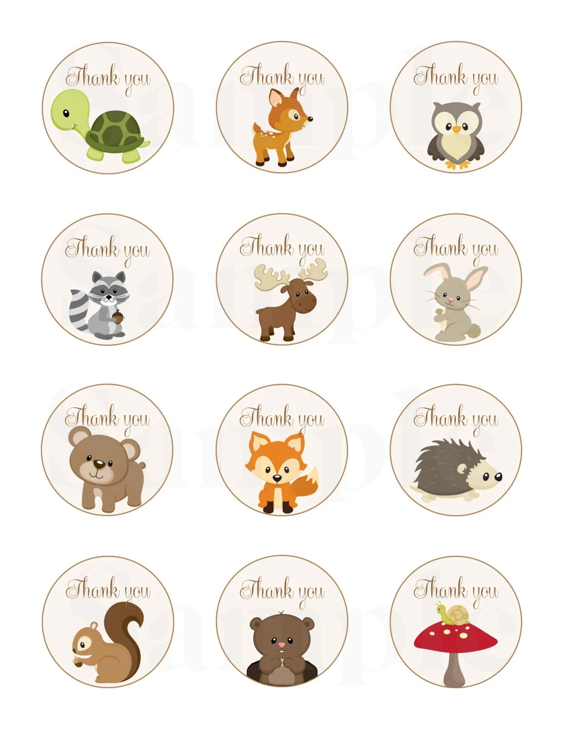 Woodland Friends Forest Animals Theme Baby Shower Thank Tags