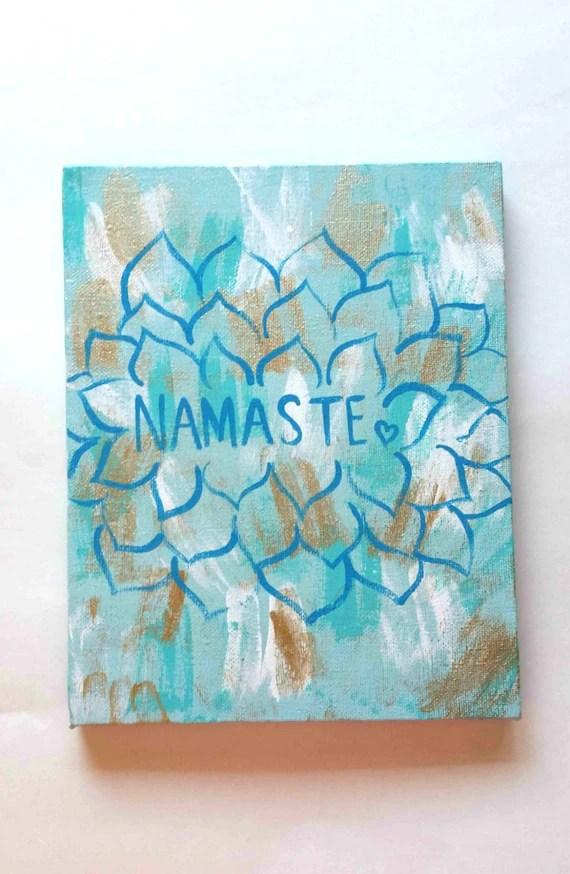 Bohemian zen namaste flower acrylic canvas painting for