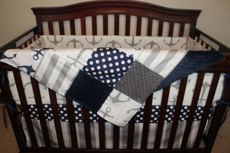 Nautical Baby Crib Bedding Gray Anchors Navy Dot Gray