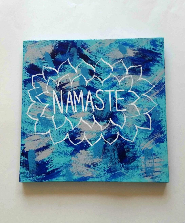 Bohemian Namaste acrylic canvas painting for bedroom dorm
