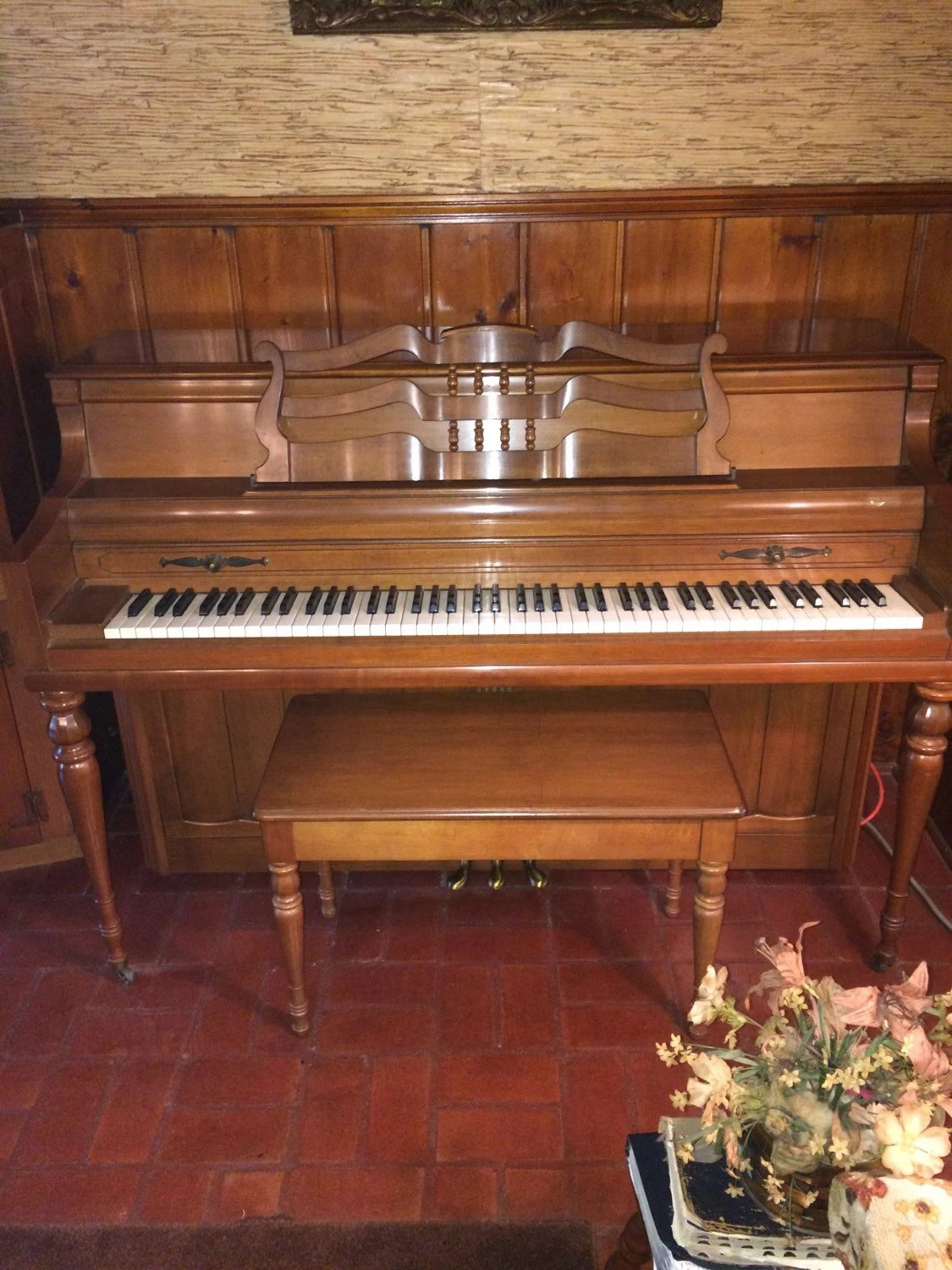 Vintage Wurlitzer Console Piano And Bench Pick Up Only