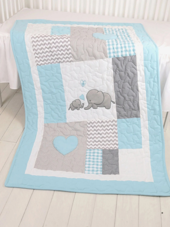 Aqua Gray Blanket Elephant Quilt Blanket By Customquiltsbyeva