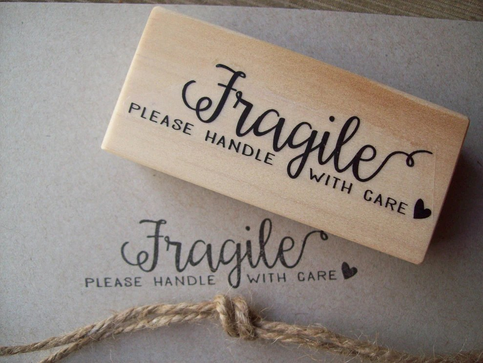 Fragile Rubber Stamp Please Handle With Care by stampcouture