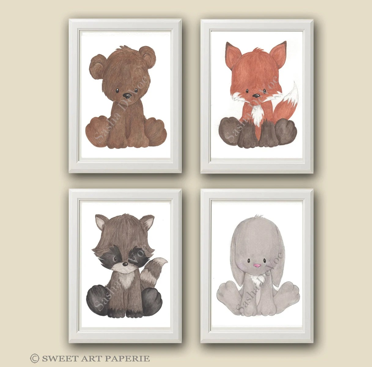 Baby Woodland Animals Nursery Art Nursery Decor Set of 4