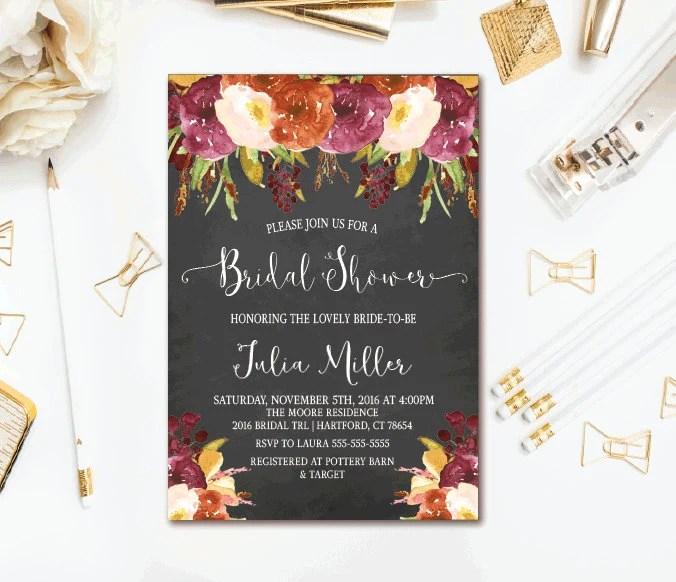 Rustic Fall Bridal Shower Invitations