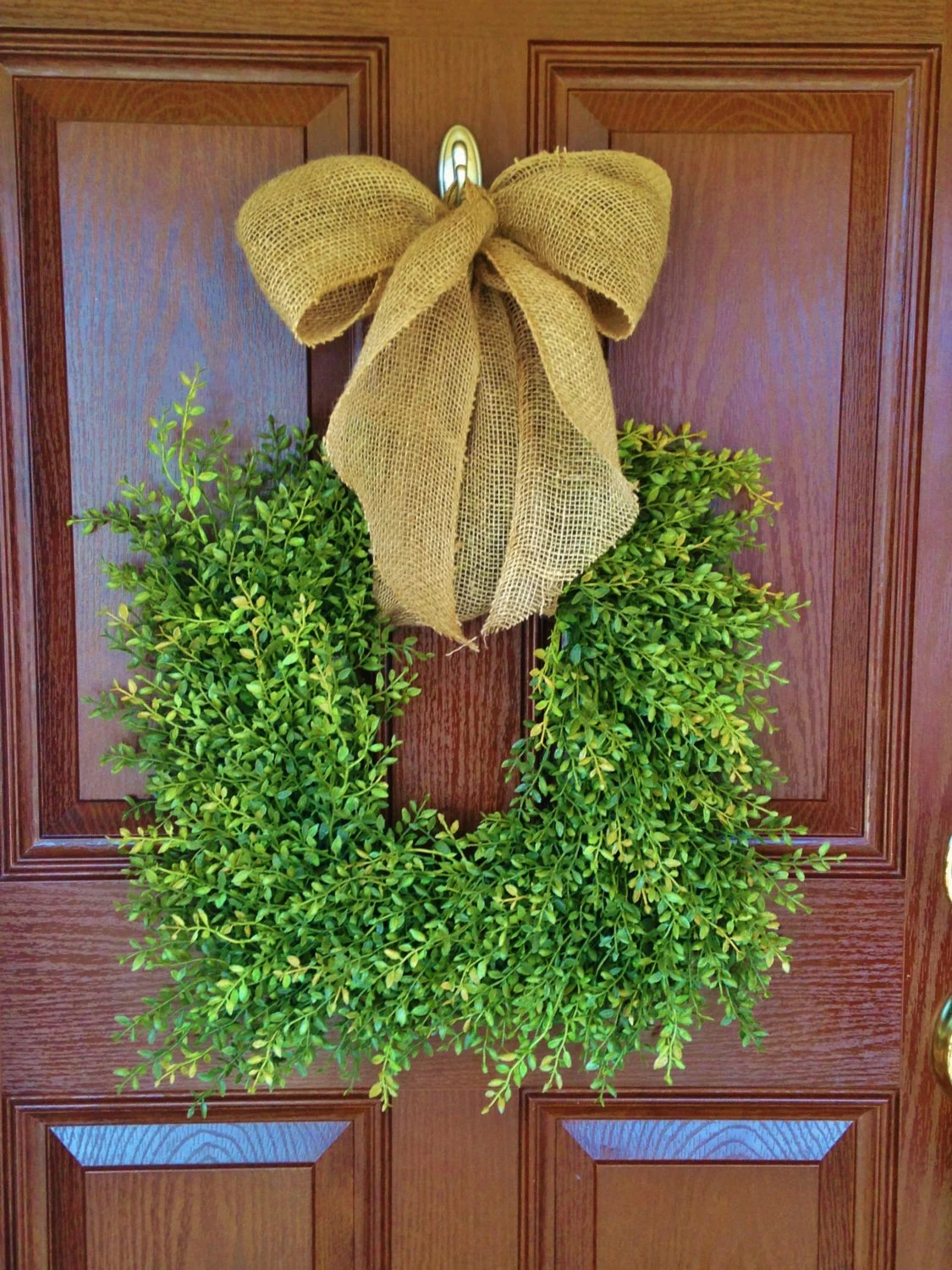 Square Boxwood Wreath Yellow Green Boxwood by ...