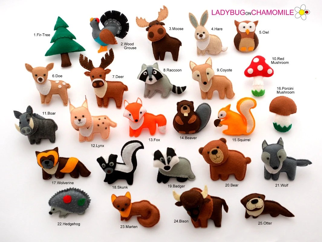 FOREST ANIMALS WOODLAND animals felt ornaments toys magnets