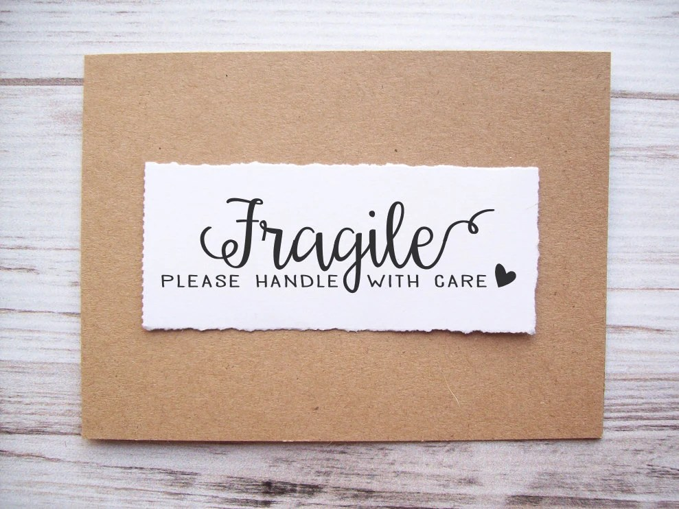 Fragile Rubber Stamp Please Handle With Care Calligraphy