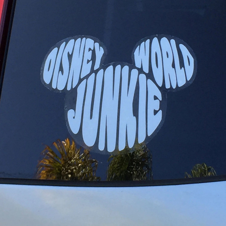 Disney World Junkie Car Automotive Outdoor Sticker Decal