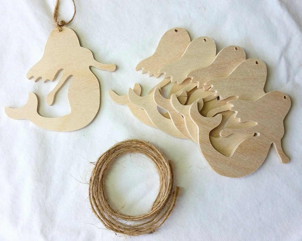 Shaped Tree Wooden Ornaments Unfinished Christmas