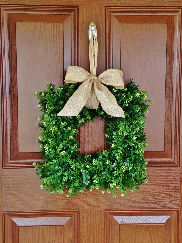 Square Boxwood Wreath Faux Boxwood Wreath Artificial Boxwood