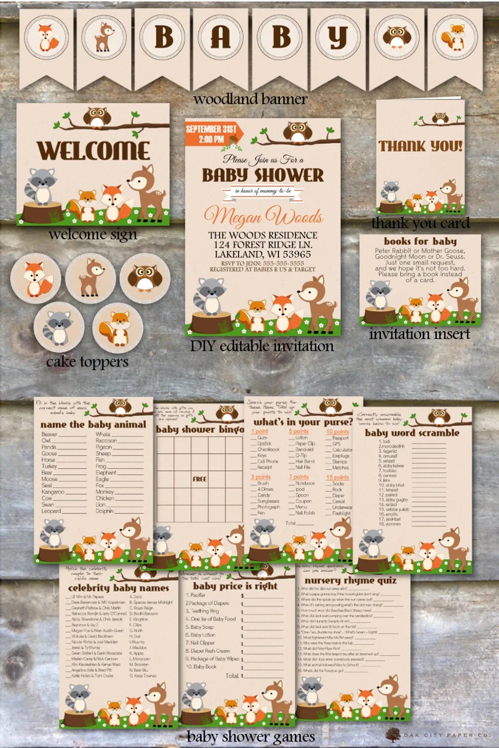 Woodland Baby Shower Party Package Woodland Animal Baby