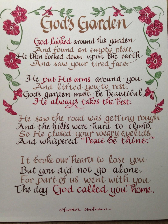 Memorial Poem Gods Garden Funeral Poem 11 x 14 hand written