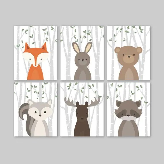 Animal Nursery Art Woodland Nursery Decor Baby Animals Room
