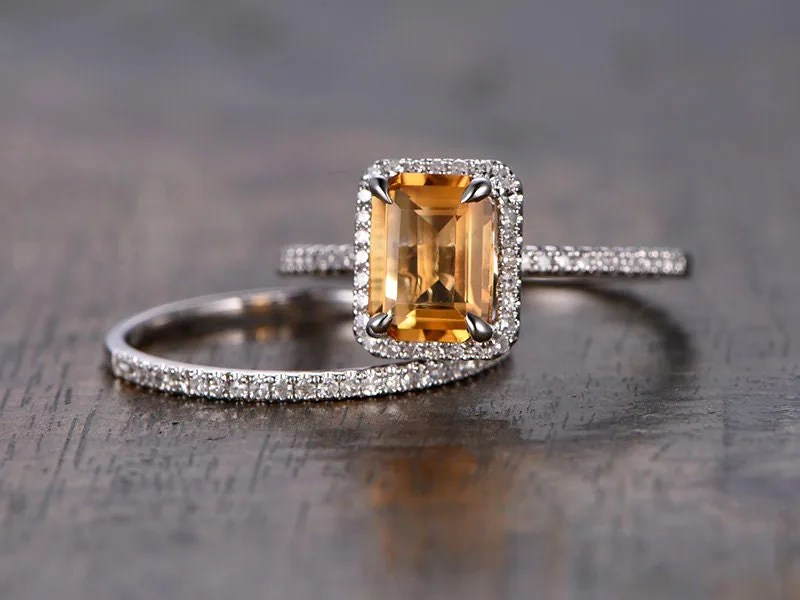 Citrine Engagement Ring Set 6x8mm Emerald Cut Citrine Ring And