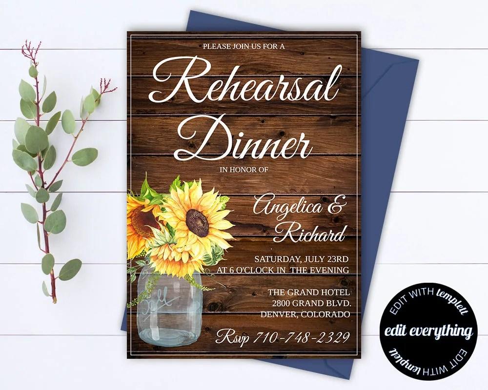 Rustic Wedding Rehearsal Dinner Invitation Template Wedding