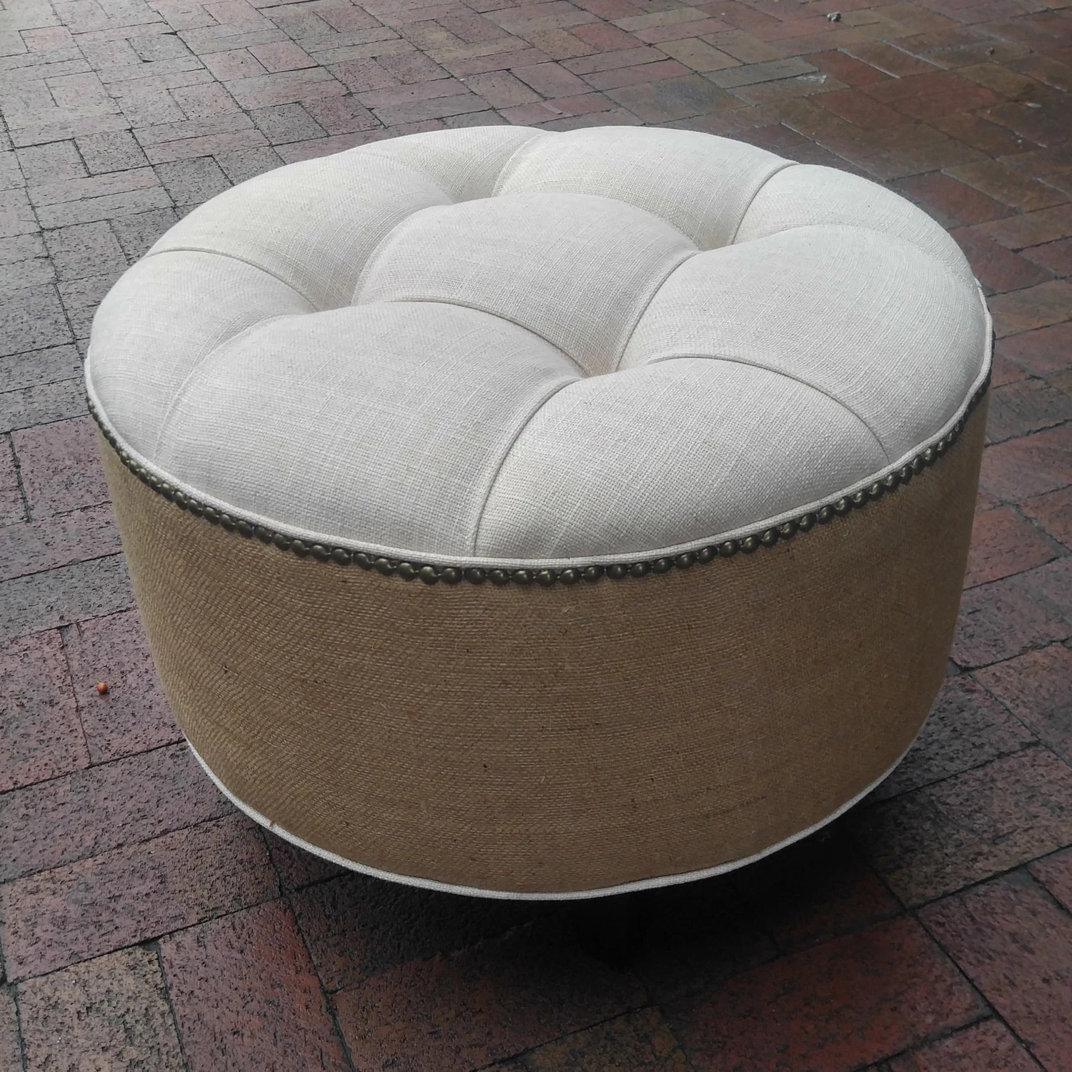 Grey Leather Tufted Ottoman