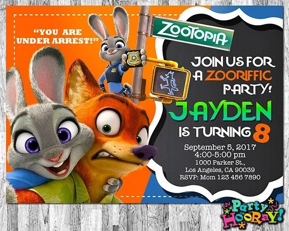 Free Printable Zootopia Invitations