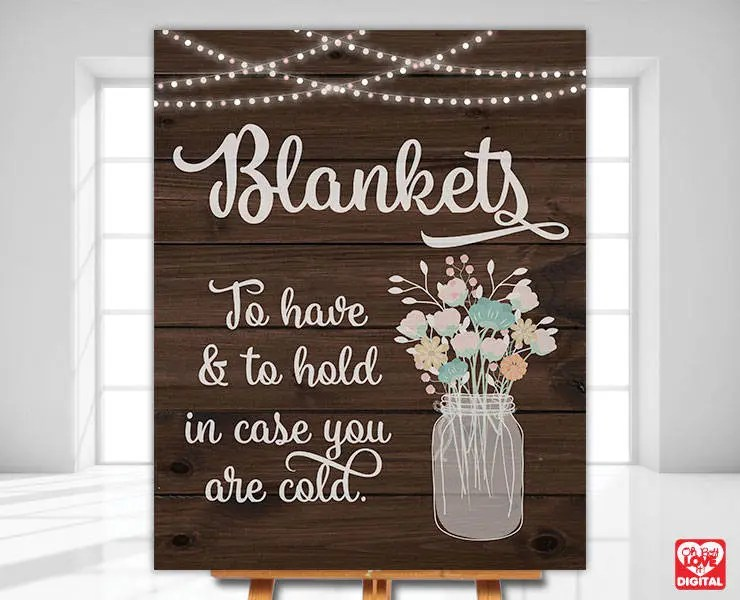 Printable Wedding Sign Blanket Sign Wedding Sign Rustic