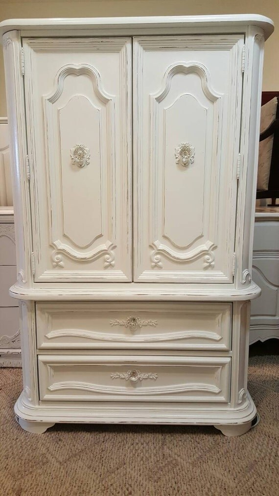 White Dresser And Armoire
