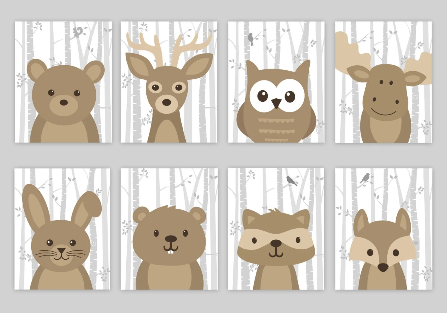 Woodland Nursery Art Woodland Nursery Decor Forest Animal