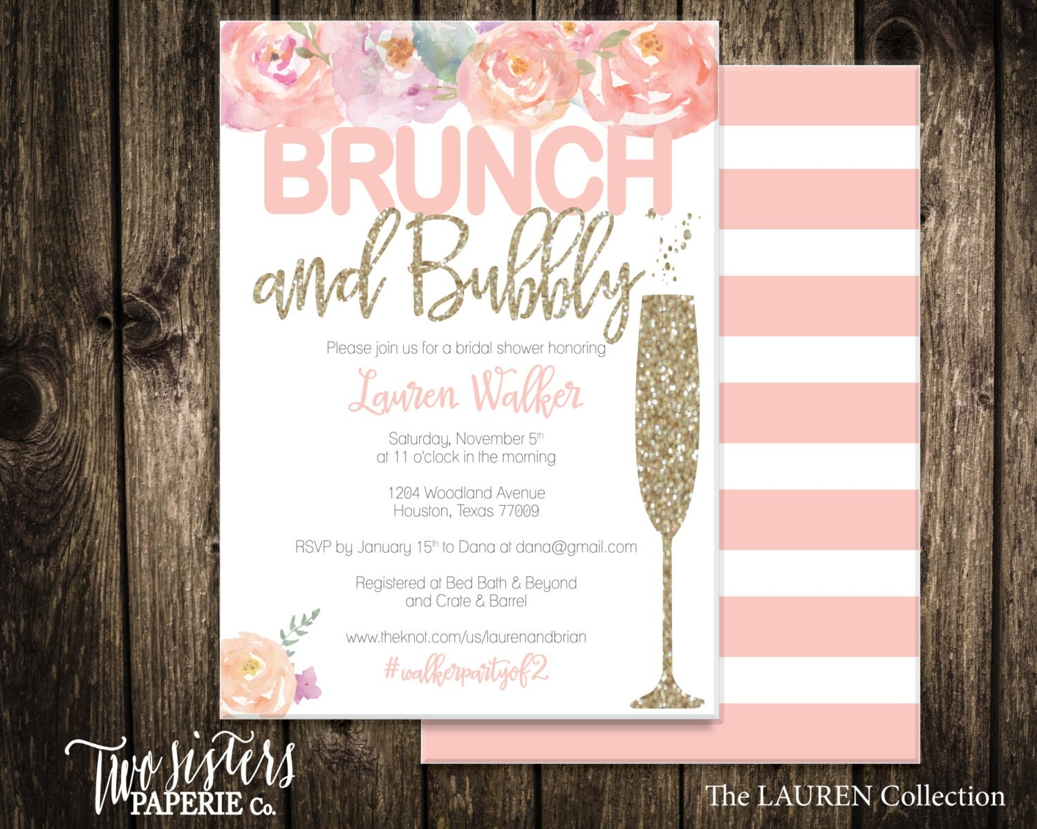 Bridal Shower Invitations Brunch And Bubbly