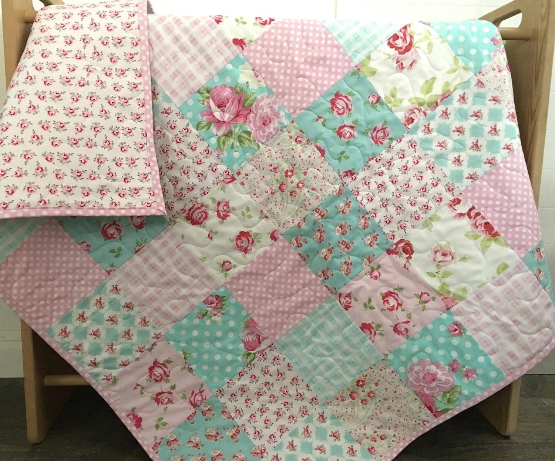 Roses Baby Quilt Pink Blue Teal Aqua Floral Crib Bedding