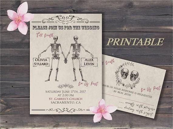 Skull Wedding Invitations Till Death Do Us Part Gothic Invites