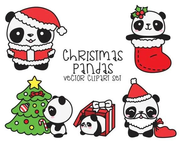 Premium Vector Clipart Kawaii Christmas Pandas Cute