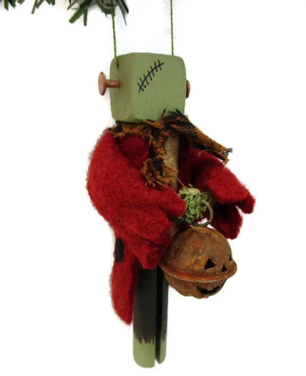 Frankenstein Monster Ornament Clothespin Ornament Halloween
